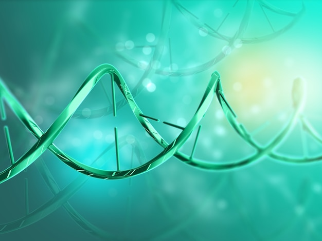 Rendering 3d di un background medico con filamento di dna Foto Gratuite