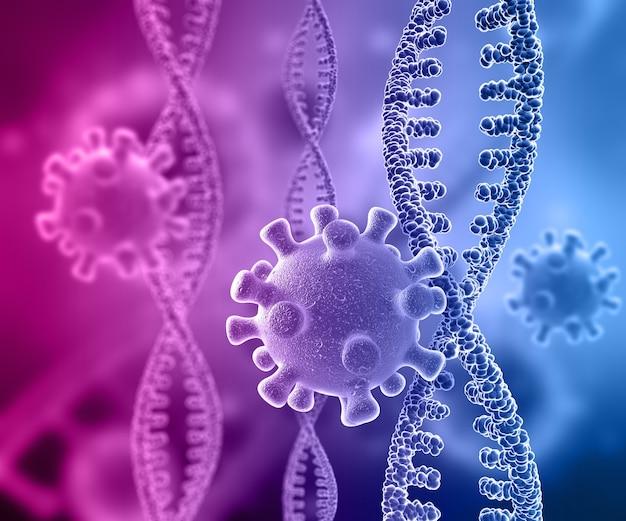 Rendering 3d di un background medico con filamenti di dna e cellule virali Foto Gratuite