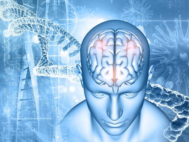 Rendering 3d di un background medico con maschio e cervello, filamenti di dna e cellule virali Foto Gratuite