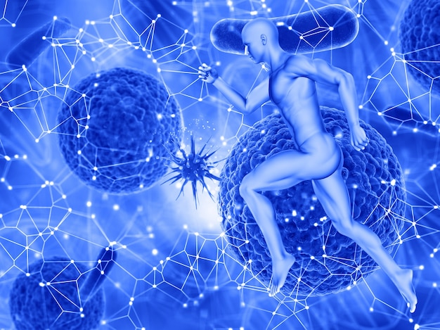 3d render of a medical background with a male figure running and a virus cell attacking another Free Photo