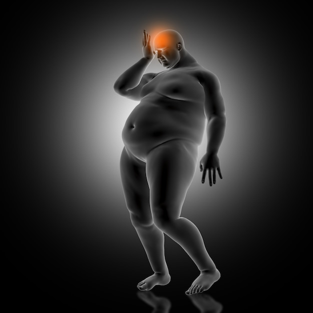 3d render of a medical background with overweight male holding head in pain Free Photo