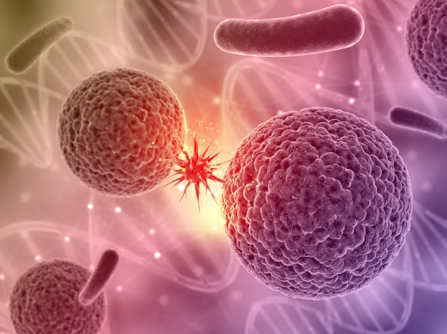 3d render of a medical background with a virus cell attacking another Free Photo