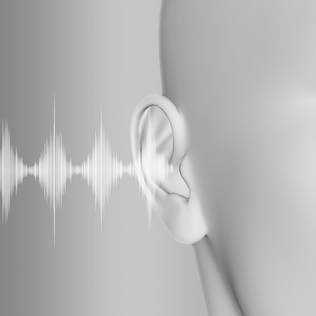 3d render of a medical with close up of ear and soundwaves Free Photo