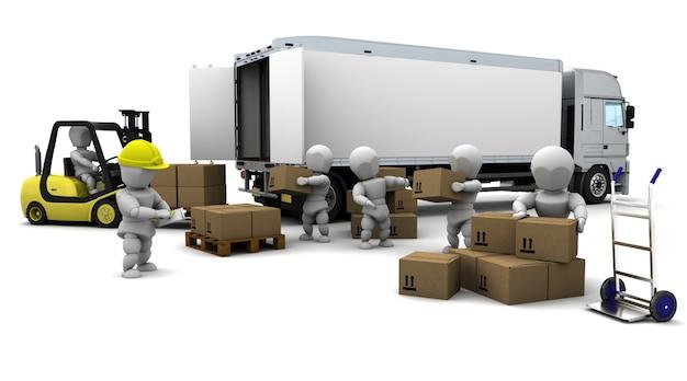 3d render of men loading a trucks Free Photo