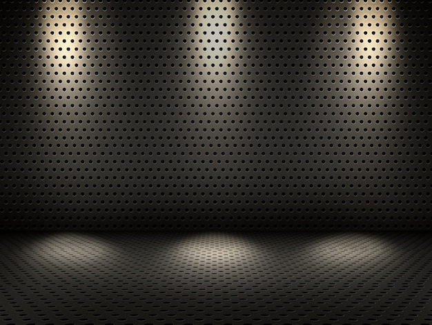 3d render of a metallic interior with spotlights Free Photo