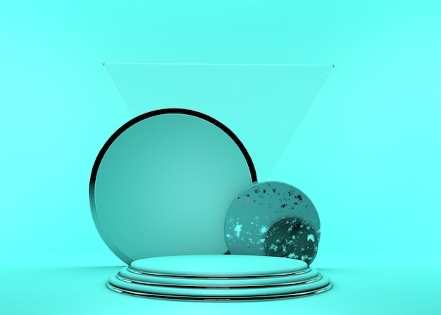 3d render. minimal abstract background. empty podium, vacant pedestal, modern stage, showcase. round silver frame, cylinder steps, modern concept, blank space. bright green color Premium Photo