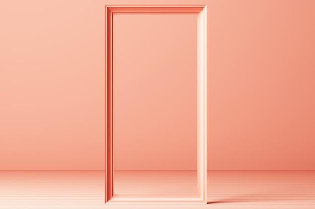 3d render minimal fashion background arch tunnel corridor portal perspective pink mint pastel colors Premium Photo