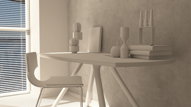 3d render of a modern home office Free Photo