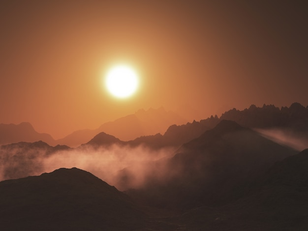 3d render of a mountain landscape with low clouds against a sunset sky Free Photo