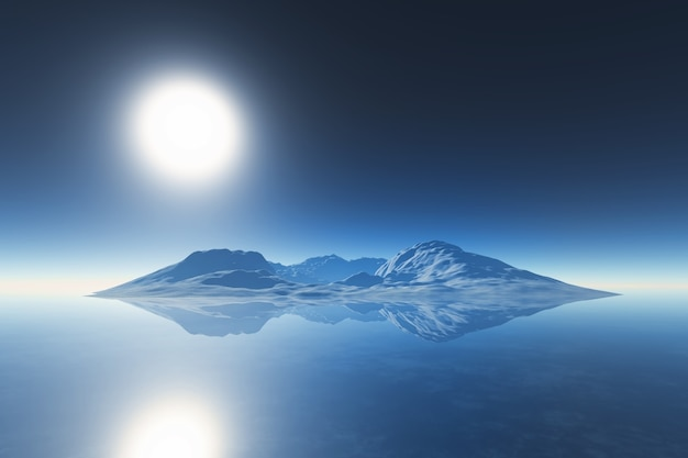3d render of a mountain range reflected in ocean Free Photo