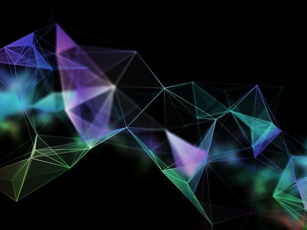 Rendering 3d di una comunicazione di rete con linee e punti di collegamento Foto Gratuite