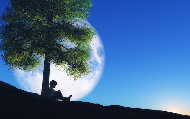 夜の空に月と木に座っている少年の3dレンダリング 無料写真