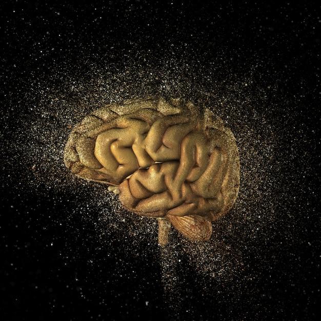 3d визуализации головного мозга с эффектом взрыва блестки Бесплатные Фотографии