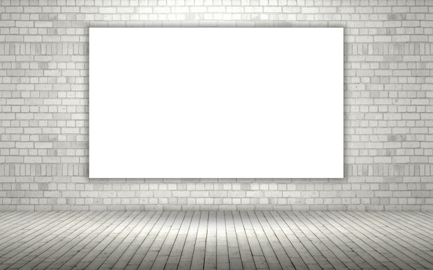 3d Render Of A Brick Wall With A Blank Canvas Photo Free