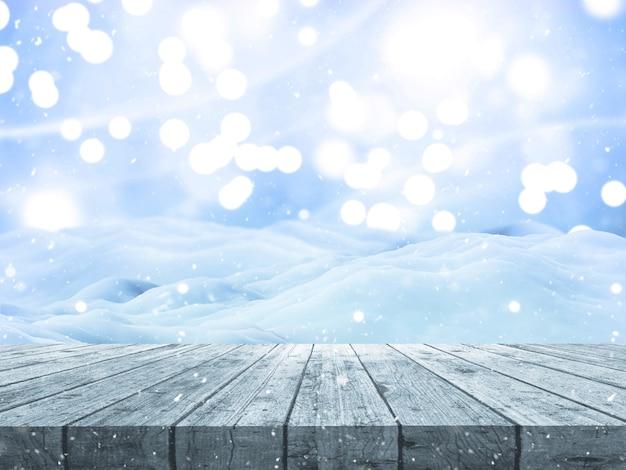 木製のテーブルとクリスマスの雪の風景の3dレンダリング 無料写真