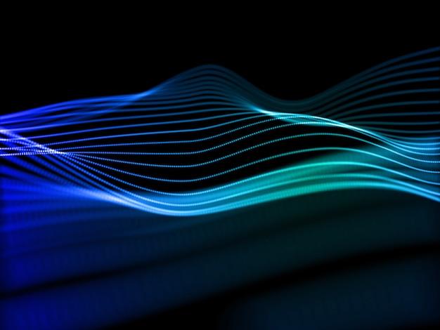 デジタル技術の背景、ネットワーク通信、音波の3dレンダリング 無料写真