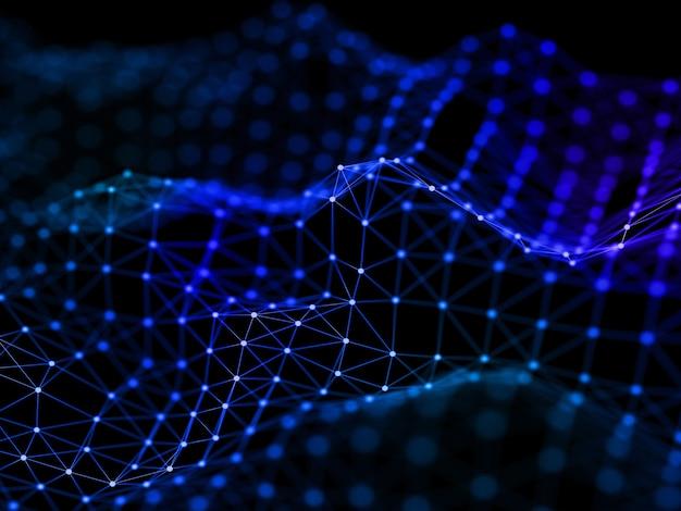 線と点を結ぶ、流れるようなネットワーク接続設計の3dレンダリング 無料写真