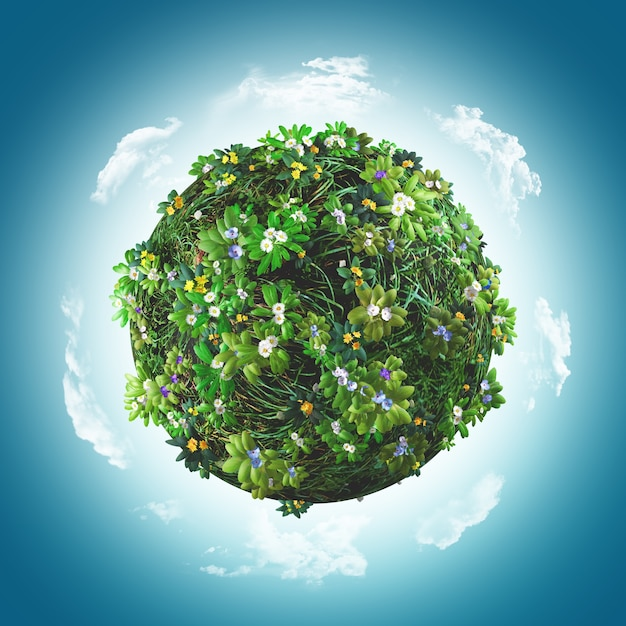 3d визуализации шара покрыта травой и цветами Бесплатные Фотографии