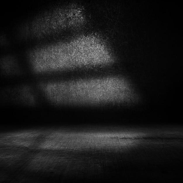 サイドウィンドウからの光でグランジ暗いインテリアの3dレンダリング 無料写真
