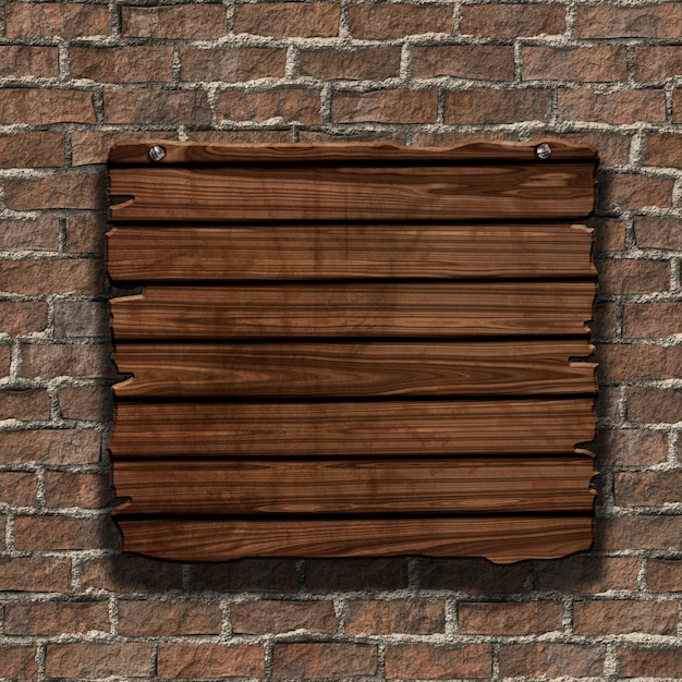 3d render of a grunge wood sign on an old brick wall Free Photo