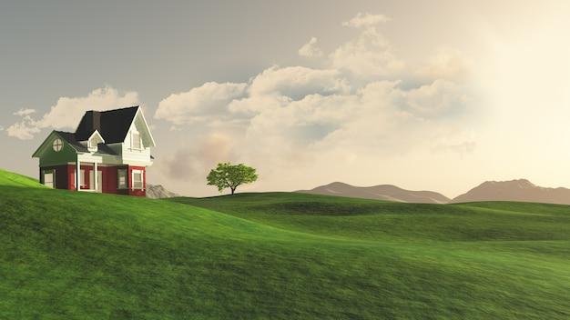 시골에있는 집의 3d 렌더링 무료 사진