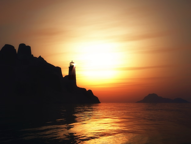 3d render of a landscape with lighthouse at sunset Free Photo