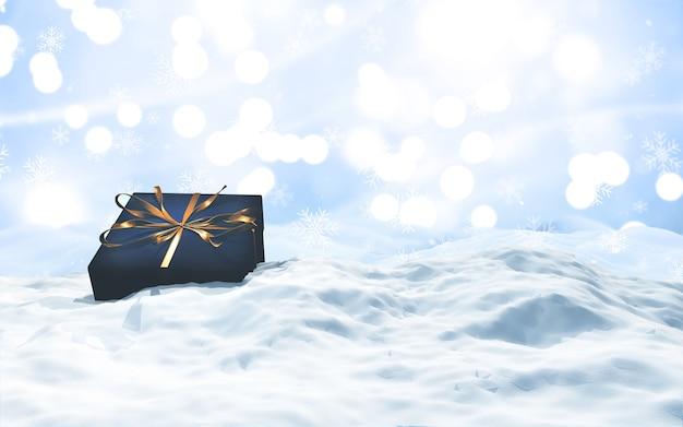 クリスマスの雪景色での豪華なギフトの3dレンダリング 無料写真