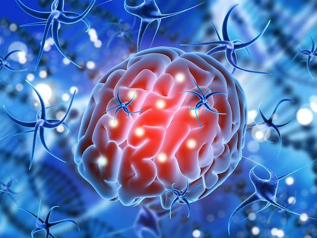 3d render of a medical background with brain being attacked by virus cells Free Photo
