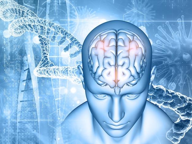 3d визуализация медицинского образования с мужчинами и мозгом, цепями днк и вирусными клетками Бесплатные Фотографии
