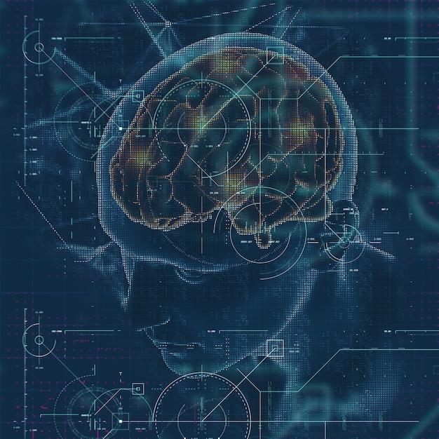 3d визуализация медицинского образования с мужской фигурой с выделенным мозгом и техно-наложением Бесплатные Фотографии