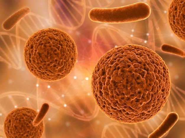 3d-визуализация медицинского фона с различными вирусными клетками Бесплатные Фотографии