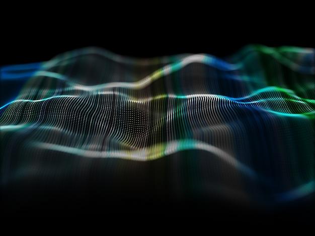 흐르는 입자 디자인으로 현대 배경의 3d 렌더링 무료 사진