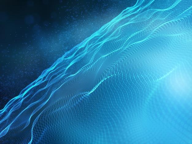 流れる粒子を使用した最新技術の背景の3dレンダリング 無料写真