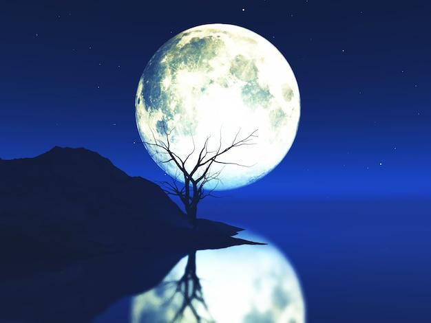 古い危険な木のある月明かりに照らされた風景の3 dレンダリング 無料写真