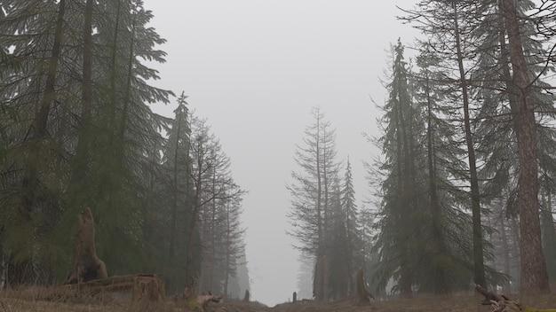 안개 속에서 낮에 신비로운 숲의 3d 렌더링 프리미엄 사진