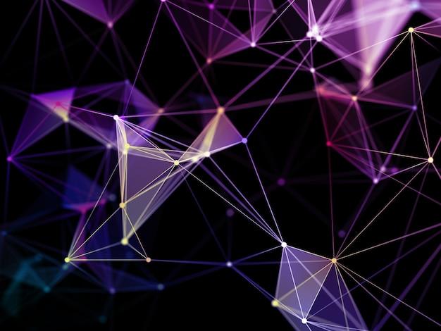 3d визуализация фона сетевых коммуникаций с дизайном сплетения low poly Premium Фотографии
