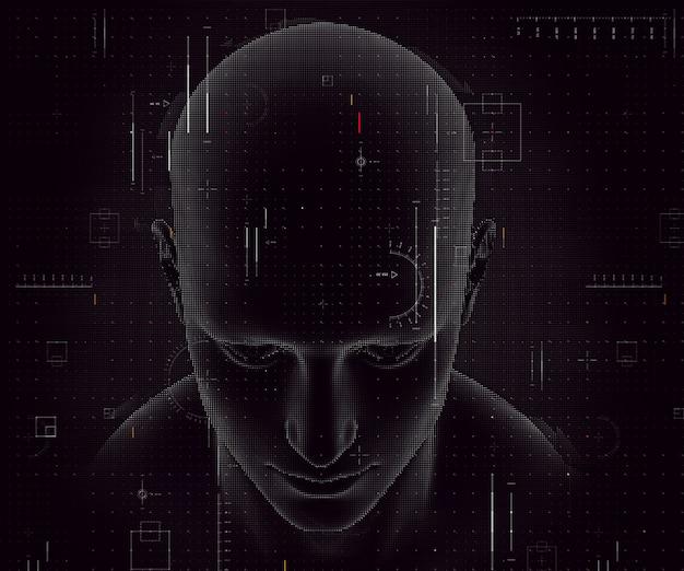 남성 그림 및 코딩 디자인 테크노 배경의 3d 렌더링 무료 사진
