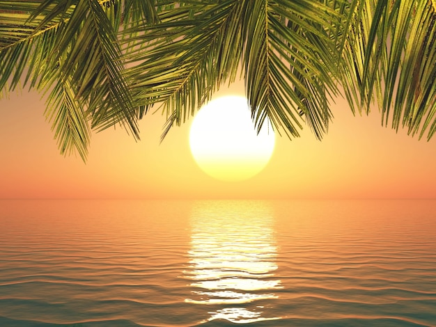 3d Render Of A Tropical Landscape At Sunset Free Photo