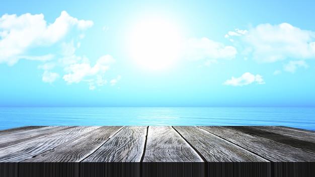 3D render of a vintage wooden table looking out to an ocean landscape Free Photo