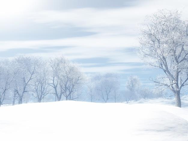 겨울 눈 덮인 풍경의 3d 렌더링 무료 사진