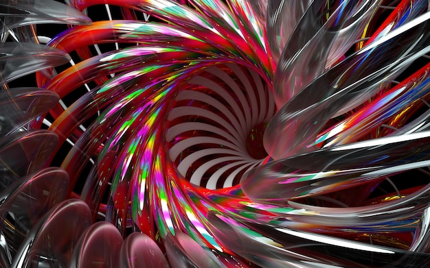 ガラス素材の鋭い刃と黒の背景に赤のグラデーション色の部分と抽象的な3 dの花またはタービンエンジンの3 dレンダリング Premium写真