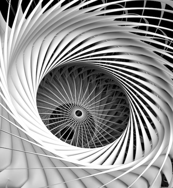 シュールな黒と白のモノクロ機械の抽象的な芸術の3 dレンダリングタービン航空機ジェットエンジンの産業機械の詳細 Premium写真