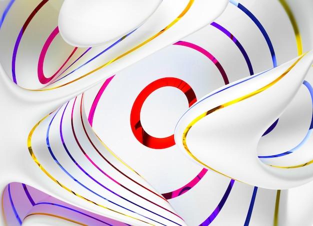 青の赤と黄色の色の光沢のある平行なストライプと白いマットマテリアルの曲線で抽象的なアートの3 dレンダリング Premium写真