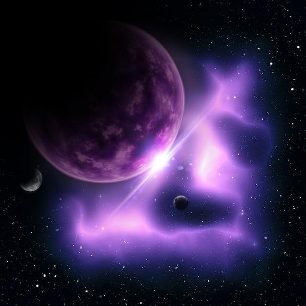 3d рендеринг абстрактной космической сцены с вымышленными планетами Бесплатные Фотографии