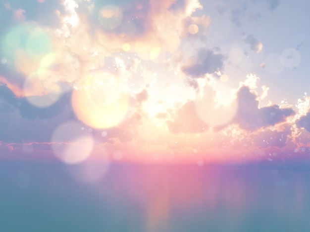3d render of an ocean against a sunset sky with vintage effect Free Photo
