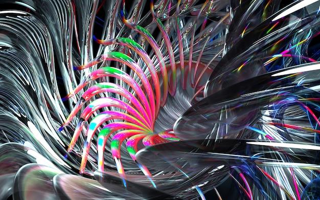 アートの3 dレンダリング抽象的なタービンエンジンの一部または曲線の鋭い刃を持つ万華鏡のような花の一部と白い光沢のあるセラミック、ガラス、赤のマルチカラーの金属材料の波状バイオフォーム Premium写真