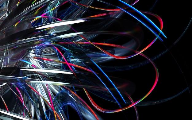 3d render of art 3d фон с частью абстрактного турбинного двигателя или калейдоскопического цветка с острыми лезвиями в кривых волнистых био формах из белой глянцевой керамики, стекла и красного многоцветного металлического материала Premium Фотографии