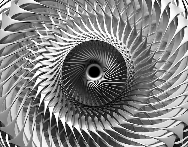 超現実的な機械産業用タービンジェットエンジンの一部と3 d背景の黒と白の抽象芸術の3 dレンダリング Premium写真