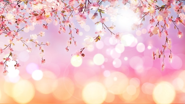 3d render of cherry blossom on bokeh lights background Free Photo