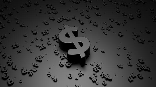 3d визуализация символа доллара на черной поверхности Premium Фотографии